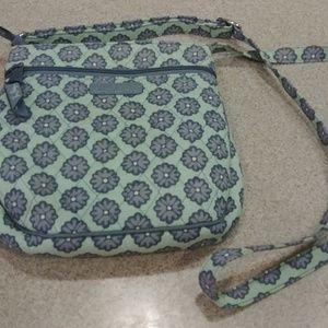 Vera Bradley - green and gray cross body bag